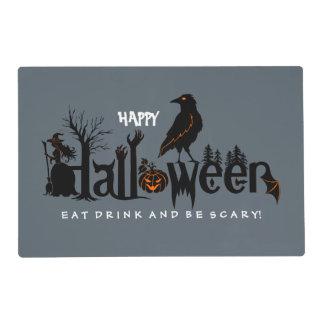 Ejemplo negro y anaranjado de Halloween Tapete Individual