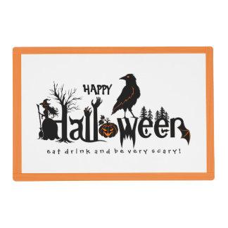 Ejemplo negro y anaranjado del feliz Halloween Tapete Individual