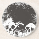 Ejemplo negro y blanco de los cráneos del Grunge Posavasos Personalizados