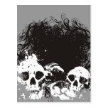 Ejemplo negro y blanco de los cráneos del Grunge Tarjetas Postales
