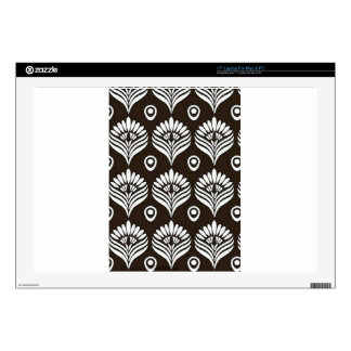 Ejemplo negro y blanco del diseño del pavo real calcomanías para portátiles