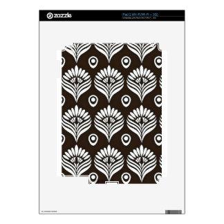 Ejemplo negro y blanco del diseño del pavo real iPad 2 calcomanías