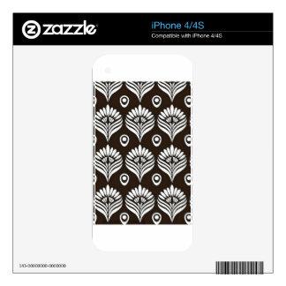 Ejemplo negro y blanco del diseño del pavo real iPhone 4 skins