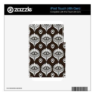 Ejemplo negro y blanco del diseño del pavo real iPod touch 4G calcomanía
