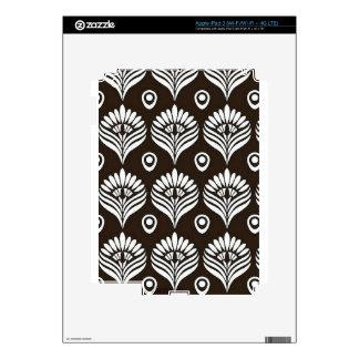 Ejemplo negro y blanco del diseño del pavo real pegatinas skins para iPad 3