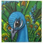 Ejemplo orgulloso del Peafowl Servilleta Imprimida