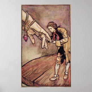 Ejemplo original del watercolour para Gulliver Póster