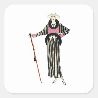 ejemplo para mujer de la moda de los años 20 pegatina cuadrada
