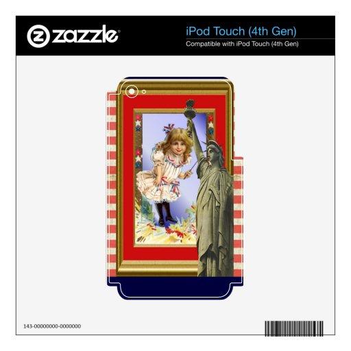 Ejemplo patriótico americano del vintage iPod touch 4G calcomanías