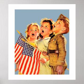 Ejemplo patriótico de la revista del vintage de póster