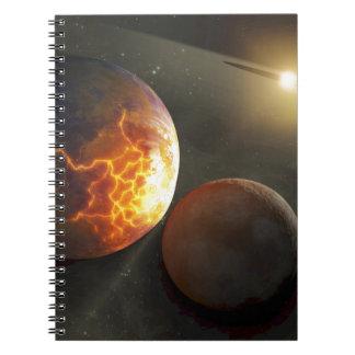 Ejemplo planetario del desplome del Apagado-Mundo Libros De Apuntes Con Espiral