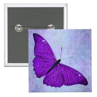 Ejemplo púrpura oscuro de la mariposa de los 1800s pin cuadrada 5 cm