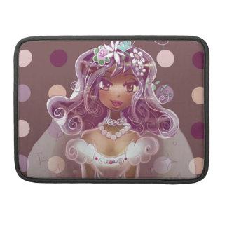 Ejemplo púrpura rizado lindo de la novia del pelo funda para macbook pro