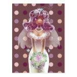 Ejemplo púrpura rizado lindo de la novia del pelo postal