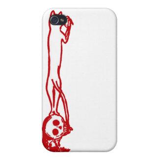 Ejemplo que sube del cráneo del vintage en rojo iPhone 4/4S carcasa