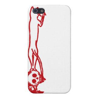 Ejemplo que sube del cráneo del vintage en rojo iPhone 5 fundas