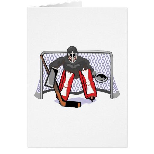 ejemplo realista del vector del portero del hockey tarjeta de felicitación