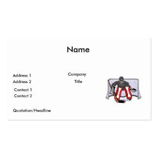 ejemplo realista del vector del portero del hockey tarjetas de visita