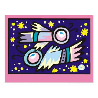 Ejemplo realmente fresco de dos astronautas postales