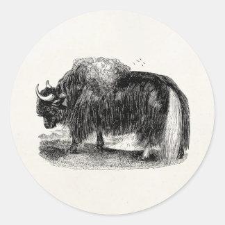 Ejemplo retro del animal de los yacs de los yacs a pegatina redonda