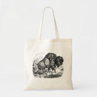 Ejemplo retro del animal del bisonte del búfalo bolsa tela barata
