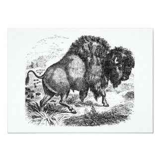 """Ejemplo retro del animal del bisonte del búfalo invitación 4.5"""" x 6.25"""""""