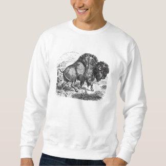 Ejemplo retro del animal del bisonte del búfalo sudadera