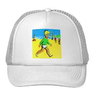 Ejemplo retro del muchacho de la playa de los niño gorros