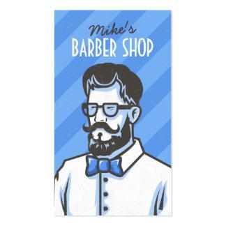 Ejemplo retro del peluquero de las rayas azules de tarjetas de visita