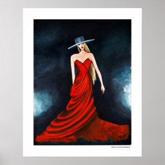 Ejemplo rojo 20 x de la moda del poster de la diva