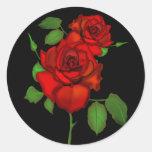 Ejemplo rojo color de rosa pegatinas redondas