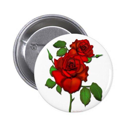 Ejemplo rojo color de rosa pin redondo de 2 pulgadas