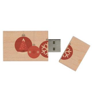 ejemplo rojo de 3 chucherías del navidad memoria USB 2.0 de madera