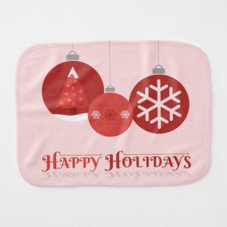 ejemplo rojo de 3 chucherías del navidad paños para bebé