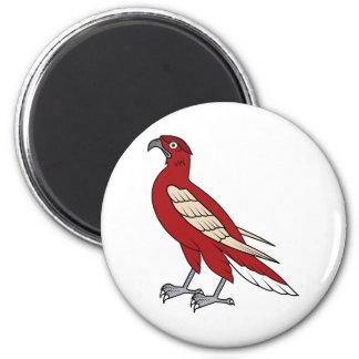 Ejemplo rojo de la animación del halcón del águila imán redondo 5 cm