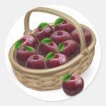 Ejemplo rojo de la cesta de la manzana pegatinas redondas