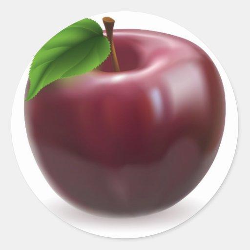Ejemplo rojo de la manzana etiquetas redondas