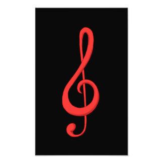 Ejemplo rojo de la música del clef agudo fotografias