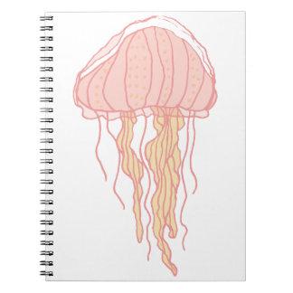 Ejemplo rosado coralino de las medusas libretas