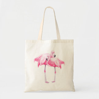 Ejemplo rosado de los flamencos de las acuarelas bolsa tela barata
