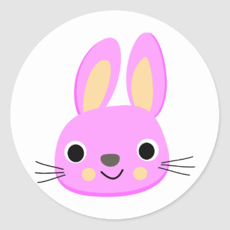 Ejemplo rosado lindo de la animación del conejo pegatina redonda