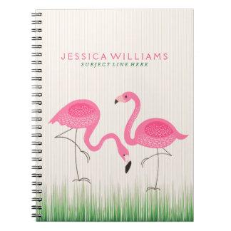 Ejemplo rosado lindo de los flamencos spiral notebook