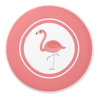 Ejemplo rosado lindo del flamenco pomo de cerámica