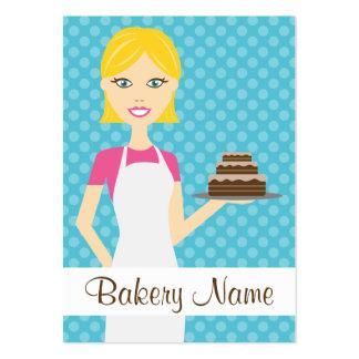Ejemplo rubio lindo de la mujer del panadero tarjetas de visita grandes