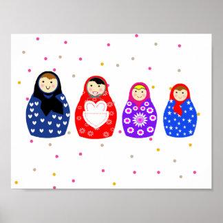 Ejemplo ruso colorido lindo de las muñecas póster