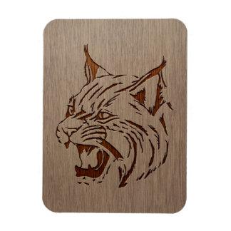 Ejemplo salvaje grabado en el diseño de madera iman rectangular