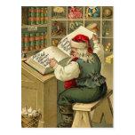 Ejemplo Santa del vintage con su libro V2 Tarjeta Postal