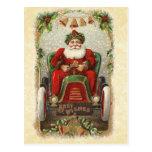 Ejemplo Santa del vintage en coche antiguo Tarjetas Postales