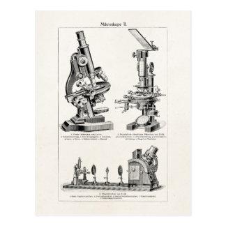 Ejemplo Steampunk retro del microscopio del Postales