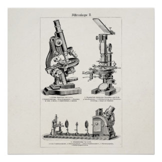 Ejemplo Steampunk retro del microscopio del Póster